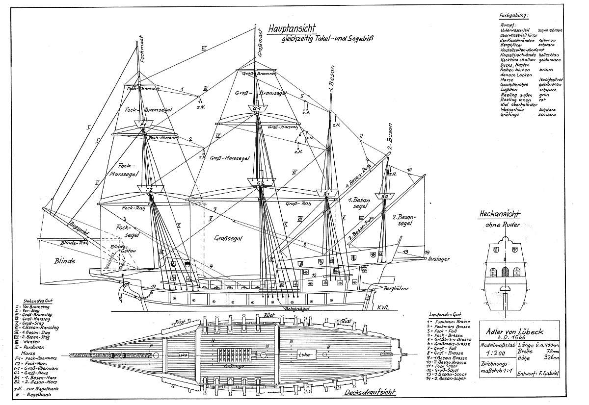 diagram of a galleon