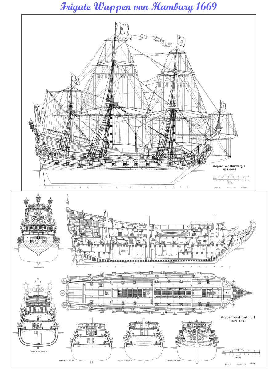 SHIPMODELL WAPPEN VON HAMBURG Warship 1669